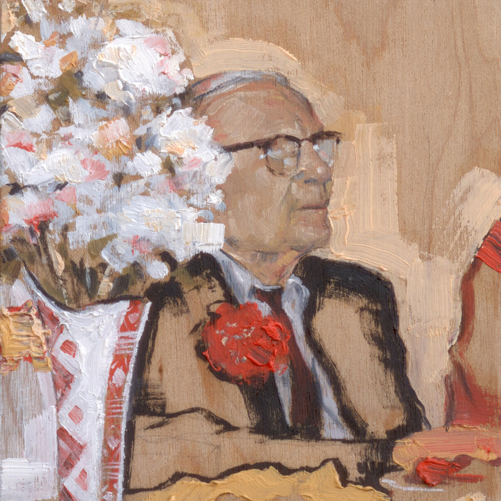 Anoldmanandsomeflowers_2014_oilonpanel_8.5x8.5_3.5x3.5_PrivateCollection
