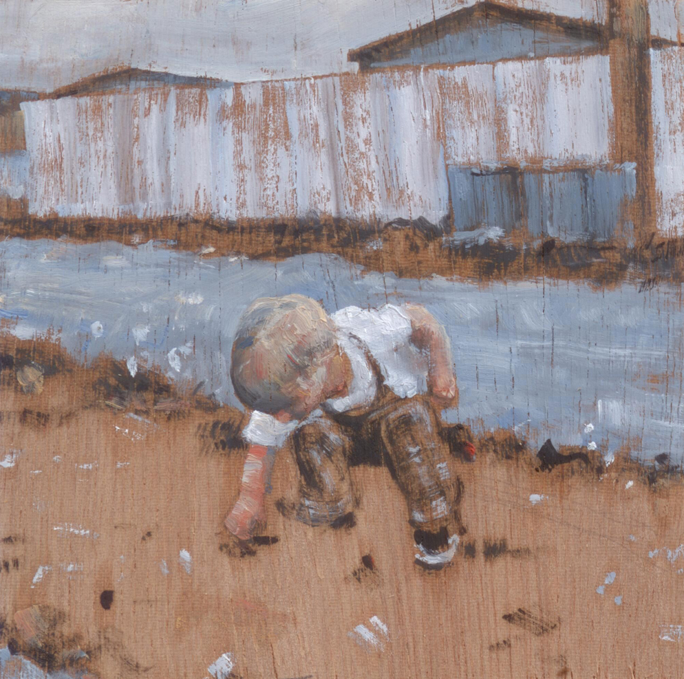 Ayoungboypickingsomethingup_2014_oilonpanel_8.5x8.5_3.5x3.5_PrivateCollection