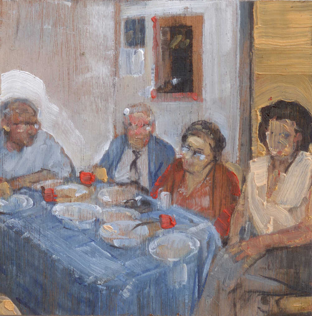 Somepeoplehavingdinner_2014_oilonpanel_8.5x8.5_3.5x3.5_PrivateCollection